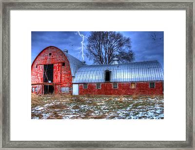 Lightning Strikes Framed Print by David Simons