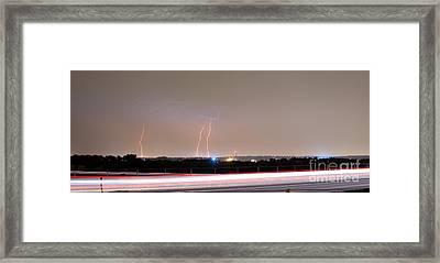 Lightning Strikes Next To Highway Panorama Framed Print