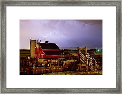 Lightning Strikes Over The Farm Framed Print