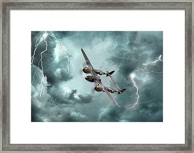 Lightning Strikes Framed Print by Peter Chilelli
