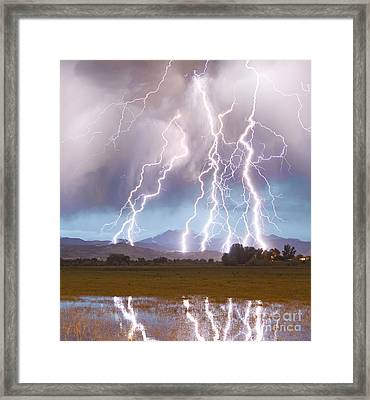 Lightning Striking Longs Peak Foothills 4c Framed Print by James BO  Insogna