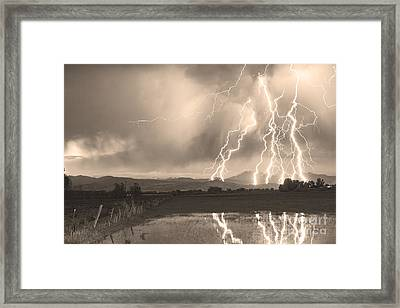 Lightning Striking Longs Peak Foothills Sepia 4 Framed Print