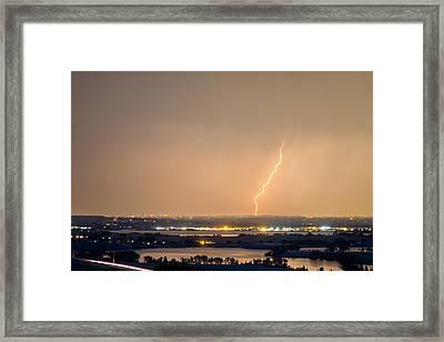 Lightning Striking Over Coot Lake And Boulder Reservoir Framed Print
