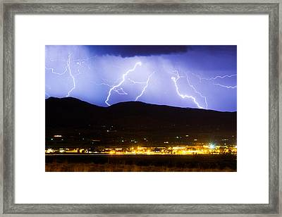 Lightning Striking Over Ibm Boulder Co 3 Framed Print by James BO  Insogna