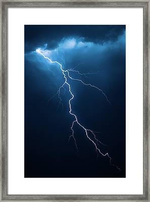Lightning With Cloudscape Framed Print by Johan Swanepoel