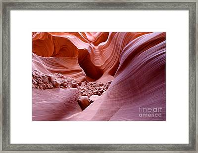 Framed Print featuring the photograph Lights And Rocks In The Canyon by Ruth Jolly