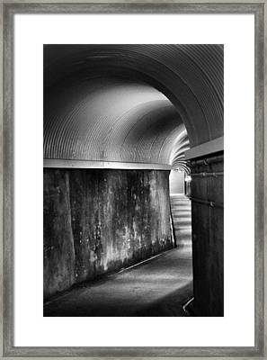 Lights At The End Of The Tunnel In Black And White Framed Print