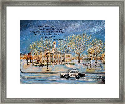 Framed Print featuring the painting Lights Go Down  by Rita Brown