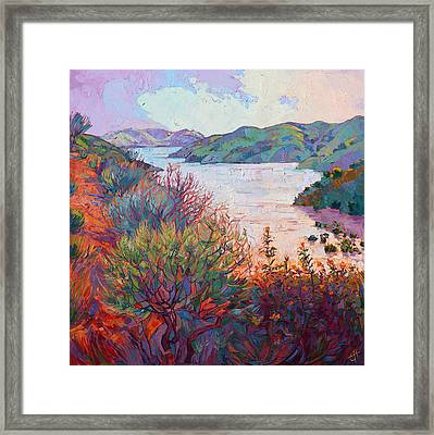 Lights On Whale Rock Framed Print