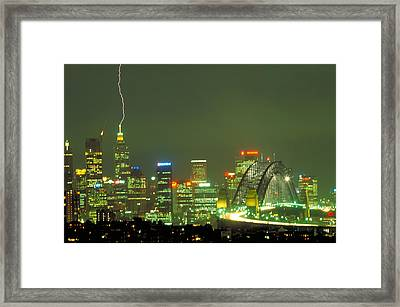Lihtning On Sydney Framed Print by Sandro Rossi