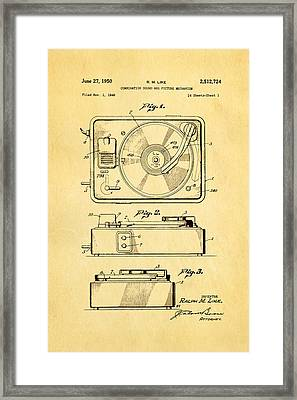 Like Sound And Picture Player Patent Art 1950 Framed Print