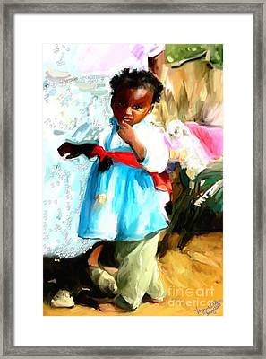 Framed Print featuring the painting Lil Girl  by Vannetta Ferguson