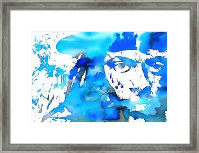 Lil Wayne Blue Paint Splatter Framed Print