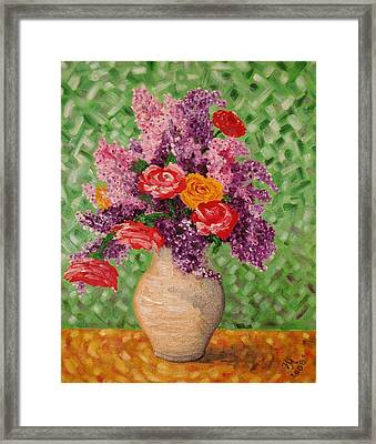 Lilac And Roses Framed Print