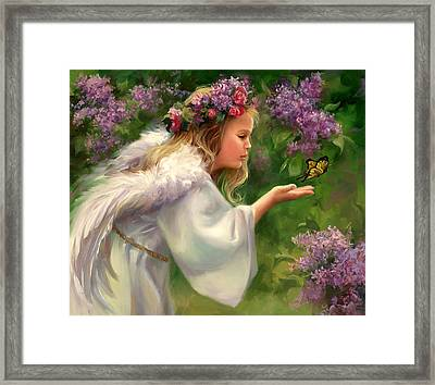 Lilac Angel Framed Print by Laurie Hein
