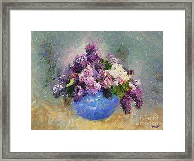 Lilac In Blue Vase Framed Print by Dragica  Micki Fortuna