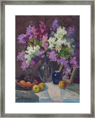 Lilacs And Blue Vase Framed Print by Diane McClary