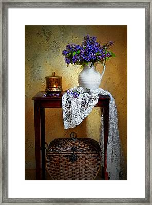Lilacs And Lace Framed Print by Diana Angstadt