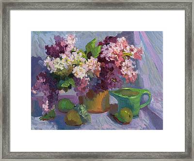 Lilacs And Pears Framed Print