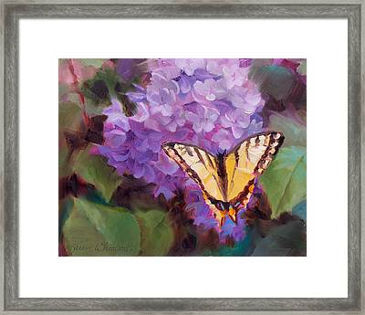 Lilacs And Swallowtail Butterfly Purple Flowers Garden Decor Painting  Framed Print