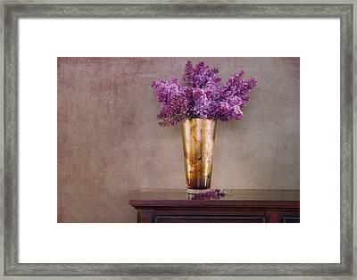 Lilacs In Vase 1 Framed Print by Rebecca Cozart
