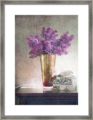 Lilacs In Vase 2 Framed Print by Rebecca Cozart