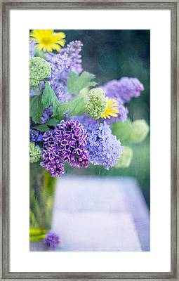 Lilacs On The Table Framed Print by Rebecca Cozart