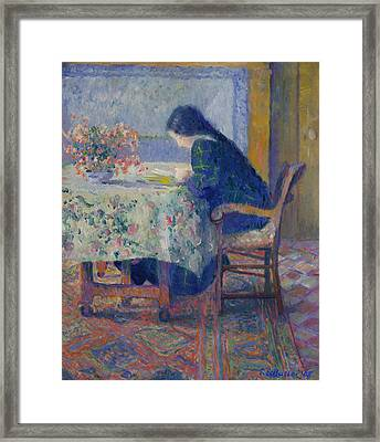 Lili Butler Reading At The Butler House. Giverny Framed Print by Theodore Earl Butler