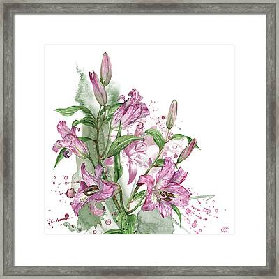 Lilies -03- Elena Yakubovich Framed Print