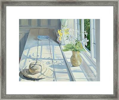 Lilies And A Straw Hat Framed Print by Timothy Easton