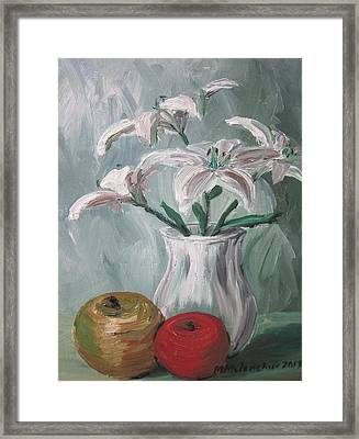 Lilies And Apples Framed Print by Maria Melenchuk