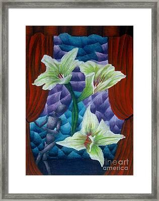 Lilies Framed Print by Coriander  Shea