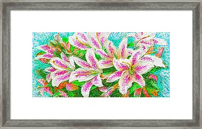 Framed Print featuring the painting Lilies  by Hidden  Mountain