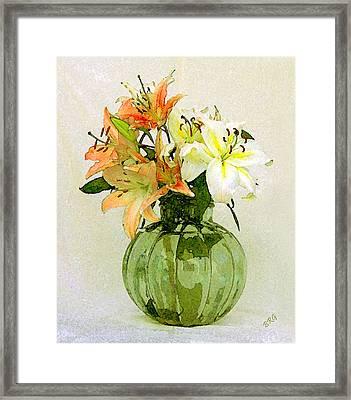 Lilies In Vase Framed Print by Ben and Raisa Gertsberg