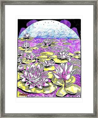 Framed Print featuring the drawing Lilies Of The Lake by Seth Weaver