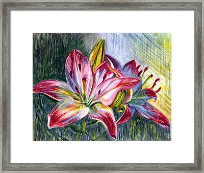 Framed Print featuring the painting Lilies Twin by Harsh Malik