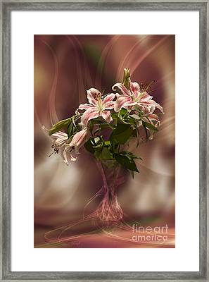 Lilies With Floating Vas Framed Print