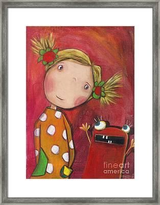 Lilli With Her Monster Framed Print by Sonja Mengkowski