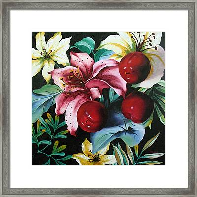 Lillies And Plums Framed Print by Marina Petro