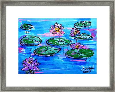 Framed Print featuring the painting Lily Pond Blues by Ecinja Art Works