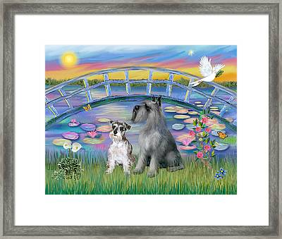 Framed Print featuring the digital art Lily Bridge With Twoo Schnauzers by Jean B Fitzgerald