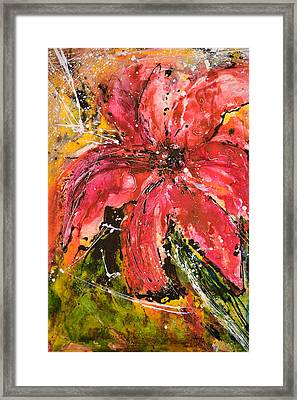 Lily - Flower Painting Framed Print by Ismeta Gruenwald