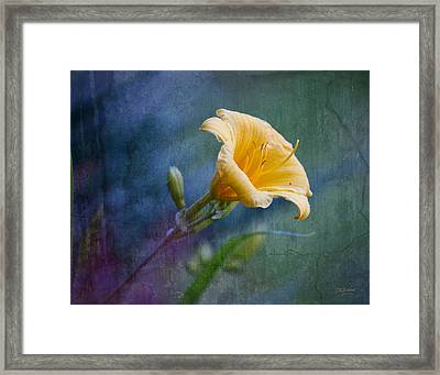 Lily In Blues And Greens Framed Print