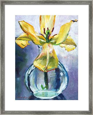 Lily In Glass Framed Print by David Lloyd Glover