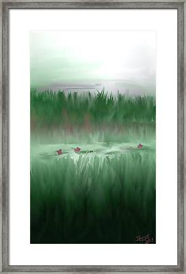 Framed Print featuring the digital art Lily Pads by Jessica Wright
