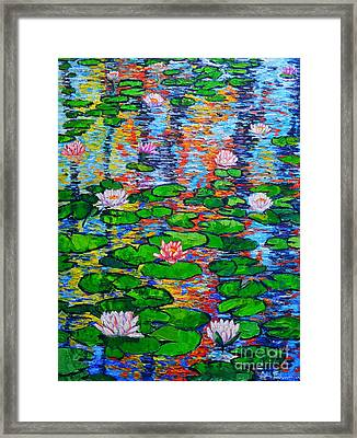 Lily Pond Colorful Reflections Framed Print