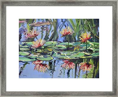 Lily Pond Reflections Framed Print by Donna Tuten