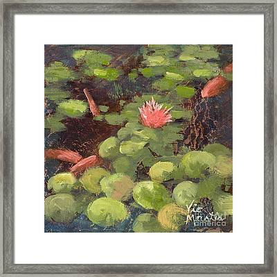 Lily Pond With Gold Leaf By Vic Mastis Framed Print