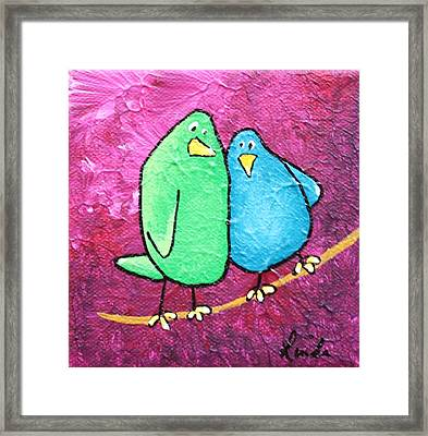 Limb Birds - Green And Turq Framed Print by Linda Eversole