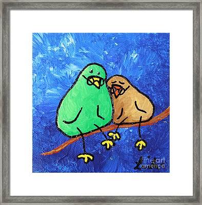 Limb Birds - Lasting Love Framed Print by Linda Eversole